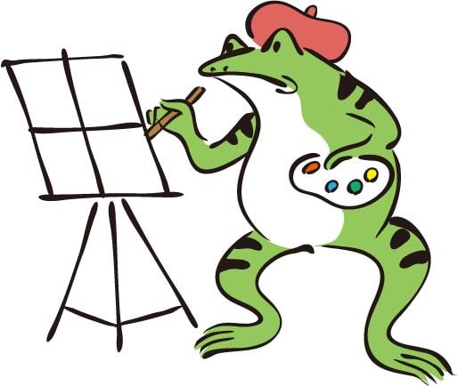 商用無料のイラストサイトを紹介するカエル