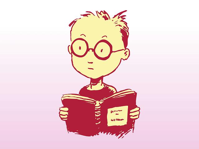 言語を学ぶ男の子