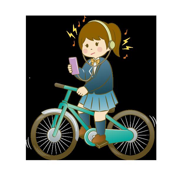 自己中自転車イヤホン装着