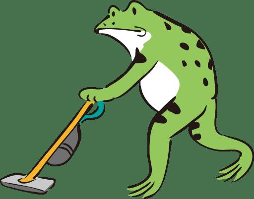 暇なときに家の掃除をするカエル