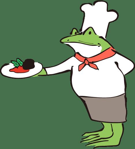 料理をするカエル