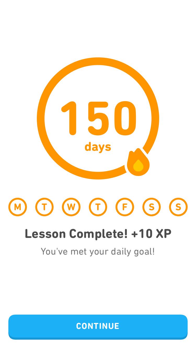 Duolingo(ドウリンゴ)中国語のレッスンを修了(150日間)